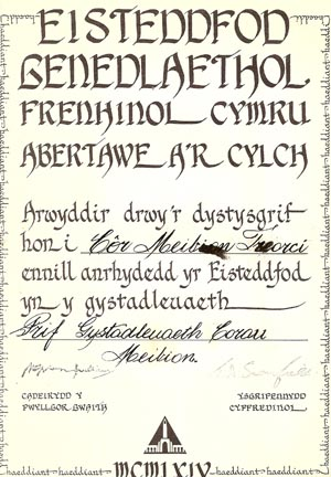 Eisteddfod Certificate