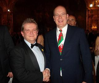 Prince Albert II with compere Dean Powell
