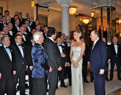 Greeting Prince Albert II & Princess Charlene
